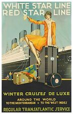 White Star Line Majestic ca. 1930 Travel Poster 11 x 17