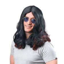 Ozzy Osbourne Wig 70s Glam Rock Long Black Sabbath Hippy Fancy Dress Sharon