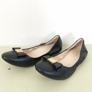 Cole Haan Womens Size 10B Black Soft Leather Ballet Flat Shoes EUC