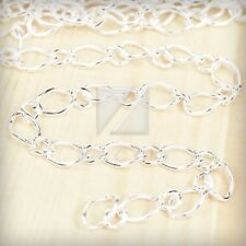 2M 6.56 feet Unfinished Chains Necklaces Curb Chain 9x5.5x0.9mm Silver