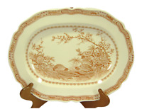 "Furnivals Quail Brown China Oval Serving Platter Birds Floral England 13"" Long"