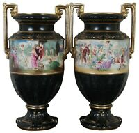 2 Antique Neoclassical English Black & Gold Grecian Painted Mantel Urn Vase Pair