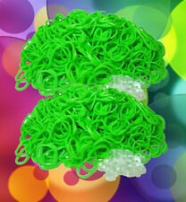 1200 (2 bags) LOOM RUBBER BANDS REFILL & 50 S-CLIPS LIME GREEN Color for Rainbow