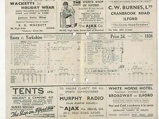 ESSEX COUNTY CRICKET CLUB SCORECARD 1938 VALENTINES PARK ILFORD v YORKSHIRE