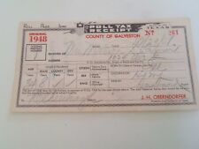 Vintage Poll Tax Receipt County of Galveston State of Texas Dated 1948