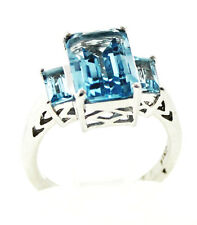 Item #760 Emerald Cut and Baguette Glacier Topaz 4.84 Cts. Size 7 in Sterling Si