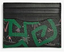 COACH x Keith Haring 'Hula Dance' Men's Coated Canvas Slim ID Card Case Blk NWT!