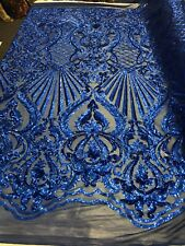 4 Way Stretch Royal Blue Sequin Fabric Spandex Prom-Gown By The Yard