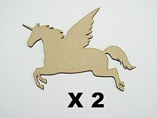Pack of 2 Pegasus/Unicorn 80mm MDF blanks embelishment for your project 03