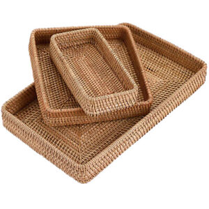 Rattan Wicker Serving Tray Woven Storage Basket Organizer for Table Fruit Drinks