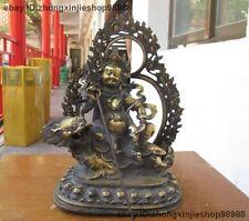 Tibet Bronze copper Buddhist Zambala Vaishravana Tide Lion buddha statue