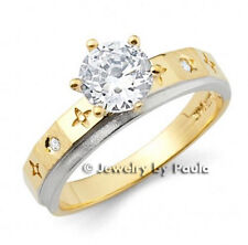 14k Solid Yellow and White Real Gold Engagement Ring with Manmade Diamonds
