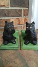 Bookends Scottie dog Black on green wall CAST IRON 30.99