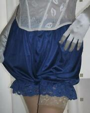 Vintage inspired blue silky nylon gusset frilly bloomers knickers panties