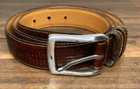 TRAFALGAR Mahogany Brown Lizard Grain Calfskin Leather Belt Brass Buckle Mens 40