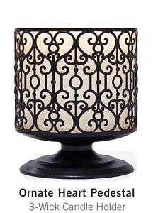 Bath & Body Works Ornate Heart Pedestal 3-Wick Candle Holder