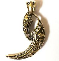 DIAMOND GOTHIC DRAGON NAIL TUSK GOLD BRASS MENS PENDANT