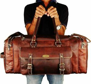 Men's Large Top-Quality Vinatge Brown Leather Travel Luggage Duffel Weekend Bag