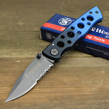 Smith & Wesson Extreme Ops 7Cr17 Part Serrated Blue/Black Handle Knife CK111S
