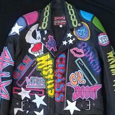 "Women's Biker Punk Rock Painted Vtg Leather Motorcycle Jacket 36 38"" uk 12 / 14"
