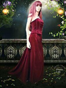 Monsoon Deep Blood Red Velvet Long Skirt & Corset Set Bohemian Gothic Vamp 8 10
