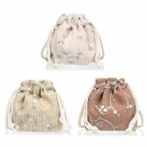 Bags Small Pouch Straw Weaving Bucket Bag Drawstring Crossbody Lace Beach Bags
