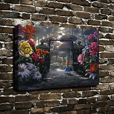 Canvas Print Art Oil Painting Disney Alice in Wonderland Garden Home Wall Decor