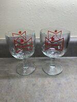 """2~ Vintage Budweiser """" King Of Beers"""" Beer Stemmed Glass/Goblet 16 oz"""
