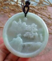 Certified Green Natural A Jade jadeite Pendant Landscape painting Bat 710213 CN