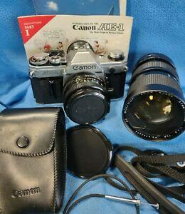 Canon AE-1 35mm Camera Lot Lens Soligor 37mm Zoom Macro Telephoto