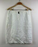 Sportscraft Linen White Skirt Womens Size 8 Pure Linen Inside Lining Straight