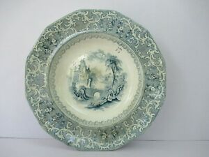 "Antique Staffordshire Pottery Green Transferware Plate English Scenery Rare""F204"