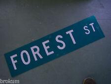 "Vintage ORIGINAL FOREST ST STREET SIGN 36"" X 9"" WHITE LETTERING ON GREEN"