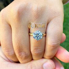 14K SOLID YELLOW GOLD ROUND CUT MOISSANITE ENGAGEMENT RING SOLITAIRE PRONG 2.00