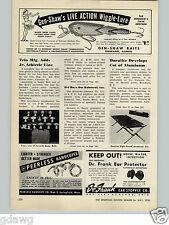 1950 PAPER AD Gen Shaw Fishing Wiggle Lure Baits Peerless Handcuffs