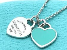 © Tiffany & Co. Blue Enamel MINI HEARTS Necklace Sterling Silver #N/A5