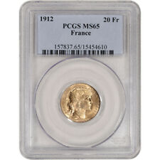 1912 France Gold 20 Francs - PCGS MS65