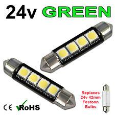 2 x Green 24v 42mm Festoon Interior Plate Light 264 4 SMD Bulbs HGV Truck