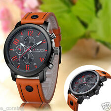 CURREN Mens Leather Stainless Steel Sport Military Quartz Wrist Watch Waterproof