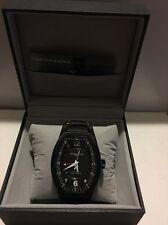 Montres De Luxe Mens GMT Estremo Black white orange Tonneau Leather Watch NEW