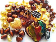 Vente en Gros Feuille italien véritable murano perles de verre marron lot gold (barg44)
