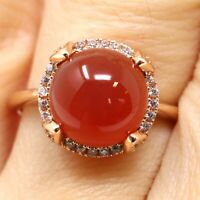 Solitaire Round Red Garnet Ring Nickel Free Jewelry Gift Size 6 7 8 9 Rose Gold