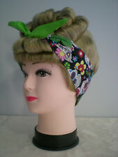 Rockabilly Head Scarf/Tie up/Pin-up/Up Do Wrap Reversible 50s. Sculls Blk/Multi