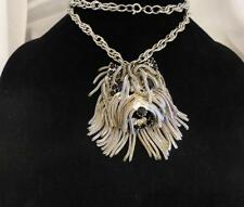 Rare Vintage DOMINIQUE Terrier Hairy Dog Head Pendant Necklace Rhinestones