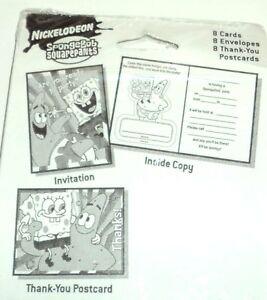 Bob L'Éponge Nickelodeon 16 Invitations 16 Thank You Cartes Postales Nip