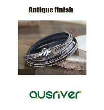 New Unisex Retro Genuine Cow leather Wrap Bracelet Black Old Antique Finishing