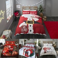Christmas Santa Duvet Cover Quilt Bedding Set With Pillowcase Single Double King