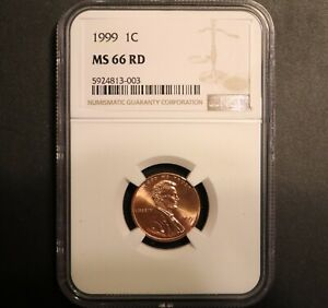 1999 Lincoln Cent Penny - Coin Graded & Certified By NGC As MS 66 RD