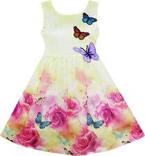 Girls Dress Rose Flower Print Butterfly Embroidery Purple Size 4-12