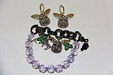 Betsey Johnson bunny jewelry  bracelet and french wire rhinestone earrings